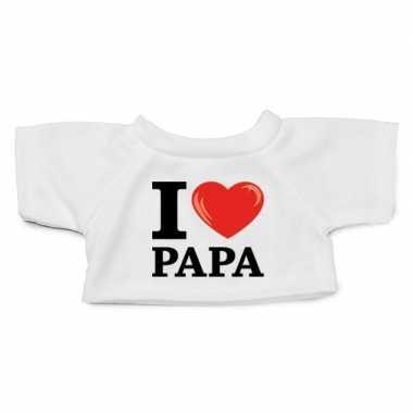 Wit knuffel shirt i love papa maat xl voor clothies knuffel 13 x 9 cm