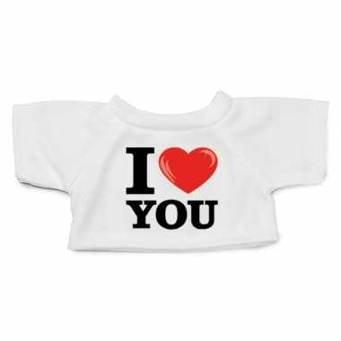 Wit knuffel shirt i love you maat xl voor clothies knuffel 13 x 9 cm