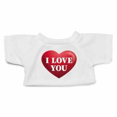 Wit knuffel shirt i love you maat xl voor clothies knuffel 22 x 20 cm