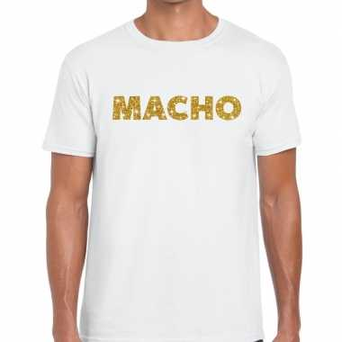 Wit macho goud fun t-shirt voor heren