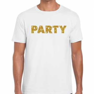 Wit party goud fun t-shirt voor heren