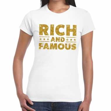 Wit rich and famous goud fun t-shirt voor dames