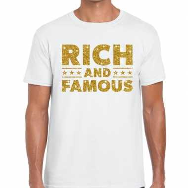 Wit rich and famous goud fun t-shirt voor heren