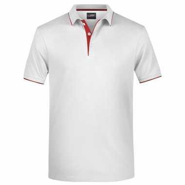 Wit/rood premium poloshirt golf pro voor heren