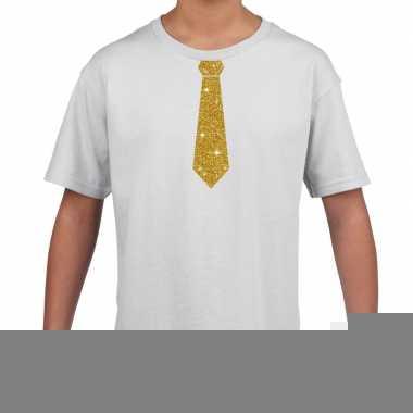 Wit t-shirt met gouden stropdas voor kinderen