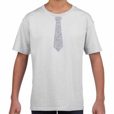 Wit t-shirt met zilveren stropdas voor kinderen