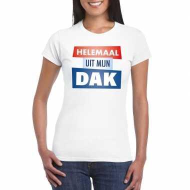 Wit t-shirt voor dames met tekst helemaal uit mijn dak