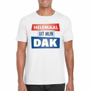 Wit t-shirt voor heren met tekst helemaal uit mijn dak