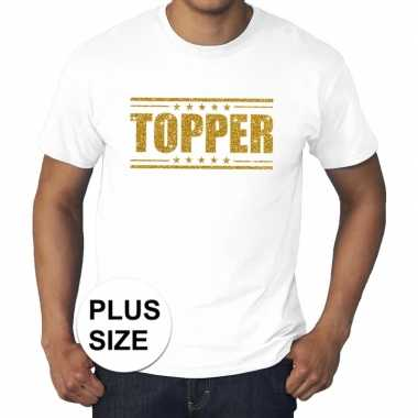 Wit topper grote maten t-shirt gouden glitter letters heren