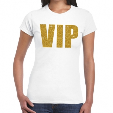Wit vip goud fun t-shirt voor dames