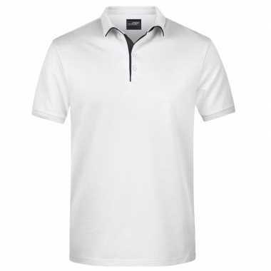 Witte premium poloshirt golf pro voor heren