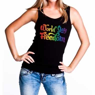 World gay freedom gaypride rainbow tanktop zwart dames