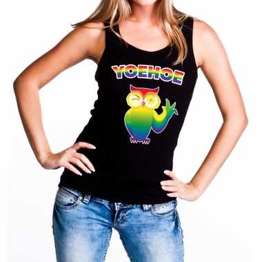 Yoehoe gay pride knipogende uil tekst/fun tanktop zwart dames