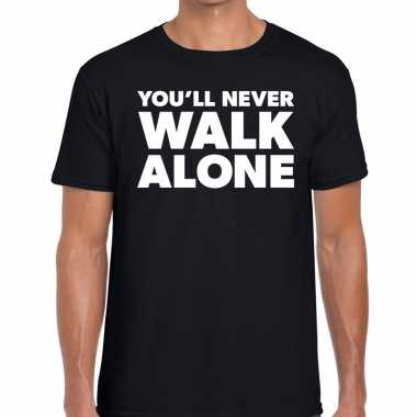 You'll never walk alone fun tekst t-shirt zwart voor heren