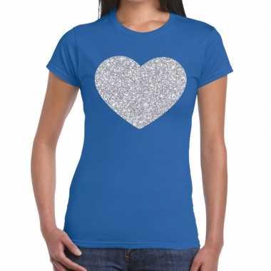 Zilveren hart glitter fun t-shirt blauw voor dames
