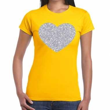 Zilveren hart glitter fun t-shirt geel voor dames