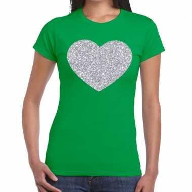 Zilveren hart glitter fun t-shirt groen voor dames