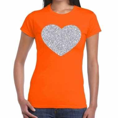 Zilveren hart glitter fun t-shirt oranje voor dames