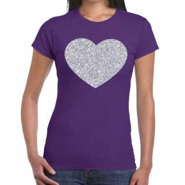 Zilveren hart glitter fun t-shirt paars voor dames