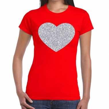 Zilveren hart glitter fun t-shirt rood voor dames
