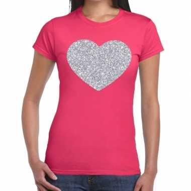 Zilveren hart glitter fun t-shirt roze voor dames