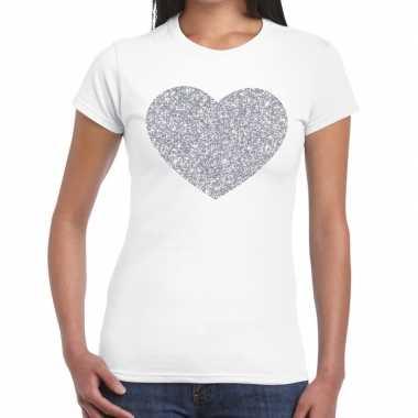Zilveren hart glitter fun t-shirt wit voor dames