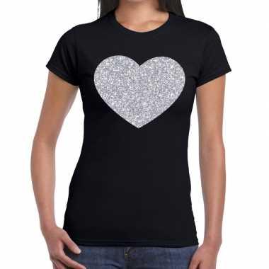 Zilveren hart glitter fun t-shirt zwart voor dames