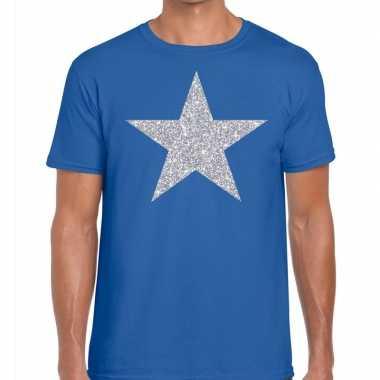 Zilveren ster glitter fun t-shirt blauw voor heren
