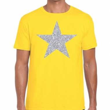 Zilveren ster glitter fun t-shirt geel voor heren