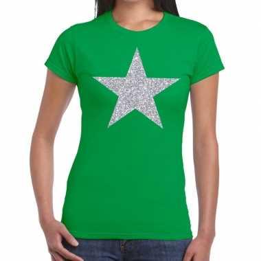 Zilveren ster glitter fun t-shirt groen voor dames