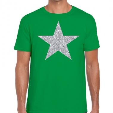 Zilveren ster glitter fun t-shirt groen voor heren