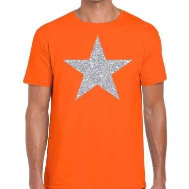 Zilveren ster glitter fun t-shirt oranje voor heren