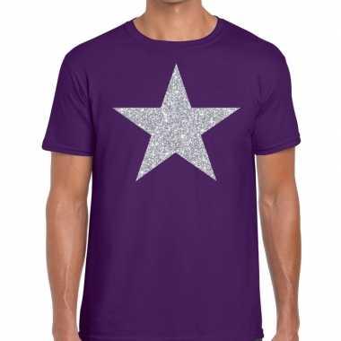 Zilveren ster glitter fun t-shirt paars voor heren