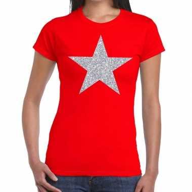 Zilveren ster glitter fun t-shirt rood voor dames