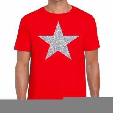 Zilveren ster glitter fun t-shirt rood voor heren