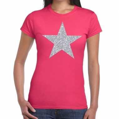 Zilveren ster glitter fun t-shirt roze voor dames