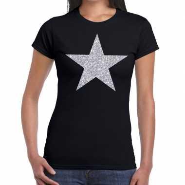 Zilveren ster glitter fun t-shirt zwart voor dames