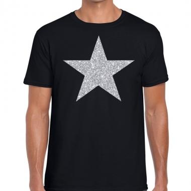 Zilveren ster glitter fun t-shirt zwart voor heren