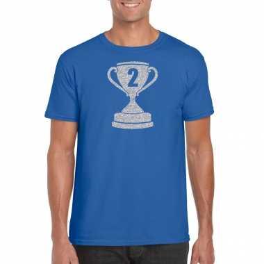 Zilveren winnaars beker / nr.2 t-shirt blauw voor heren