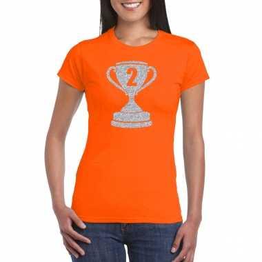 Zilveren winnaars beker nr.2 t-shirt oranje voor dames