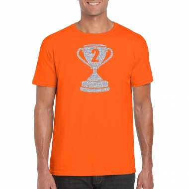 Zilveren winnaars beker nr.2 t-shirt oranje voor heren