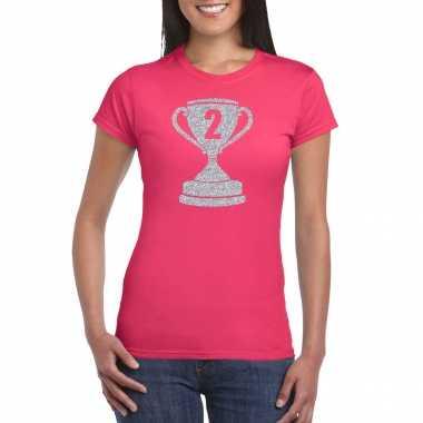 Zilveren winnaars beker nr.2 t-shirt roze voor dames