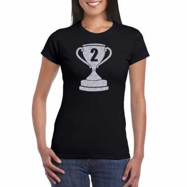 Zilveren winnaars beker nr.2 t-shirt zwart voor dames