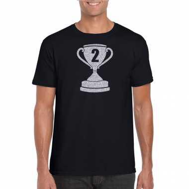Zilveren winnaars beker nr.2 t-shirt zwart voor heren