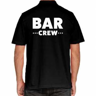Zwart bar crew polo t-shirt voor heren