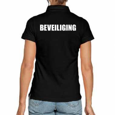 Zwart beveiliging polo t-shirt voor dames