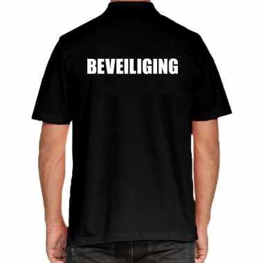 Zwart beveiliging polo t-shirt voor heren