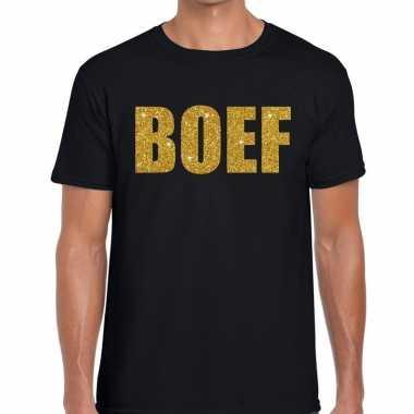 Zwart boef glitter goud fun t-shirt voor heren