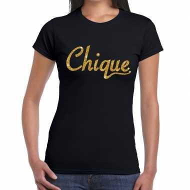 Zwart chique goud fun t-shirt voor dames