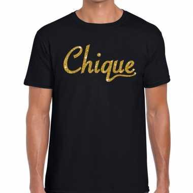 Zwart chique goud fun t-shirt voor heren